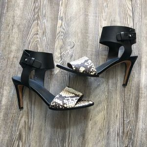 Vince Black & Snakeskin Leather Heels size 8